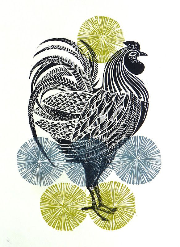 Cockerel - lino print - Amanda Colville, U.K.