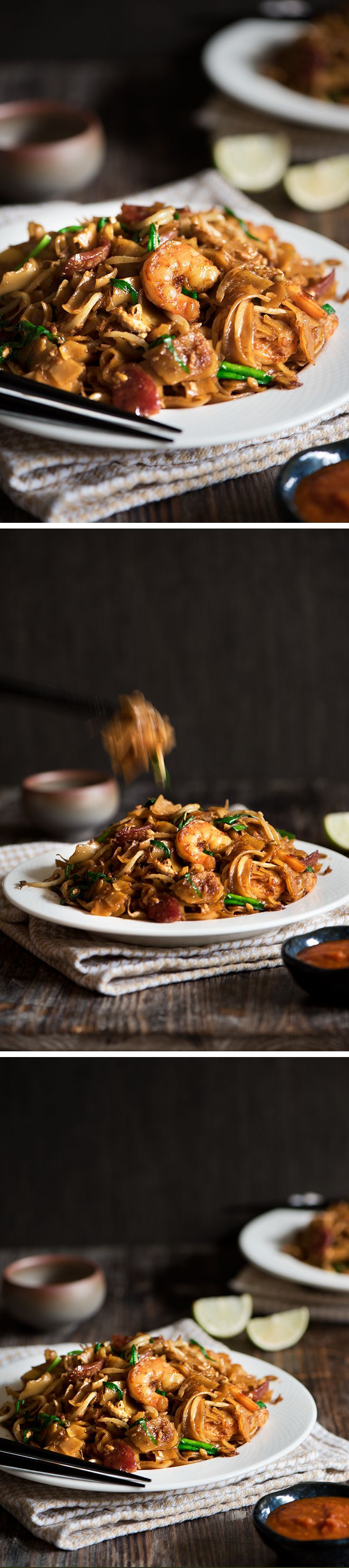 One of the most popular street food in Malaysia, Char Kway Teow is smoky fried noodles with lard, sausages and prawns cooked in just 5 minutes.
