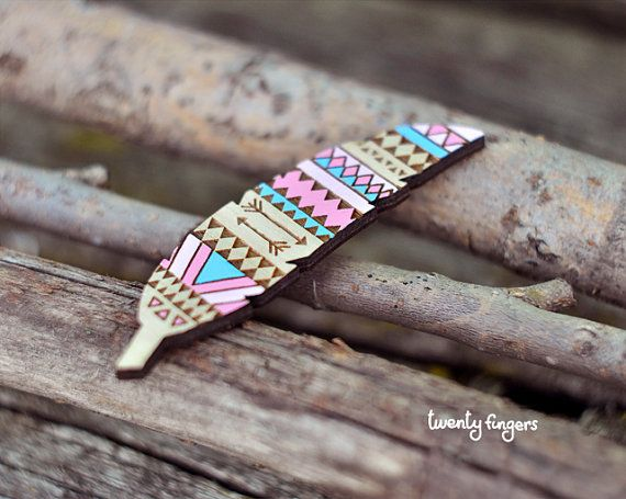 Pink & Blue Wood native brooch  feather laser by TheTwentyFingers, $15.00