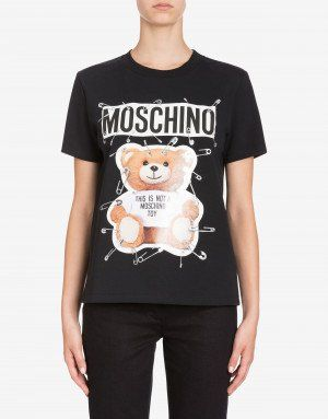 ca5706624 Cotton jersey T-shirt with Safety Pin Teddy print   Clothes   Shirt ...