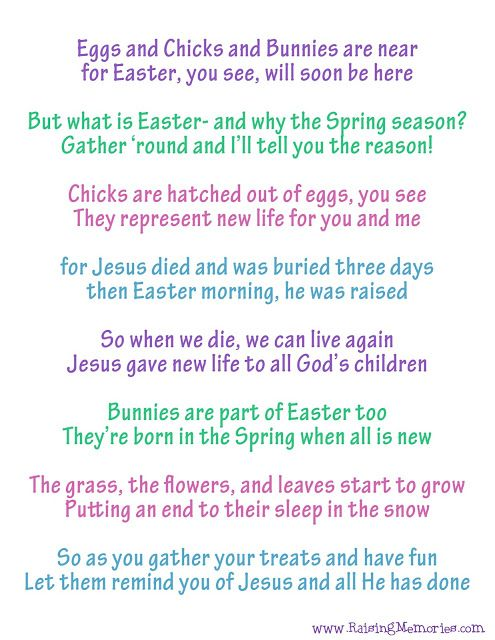 Free Printable Easter Poem about the true meaning of Easter and Easter Symbols.  How can Easter bunnies, chocolate eggs, and candy chicks remind you of Jesus at Easter time? by www.RaisingMemories.com