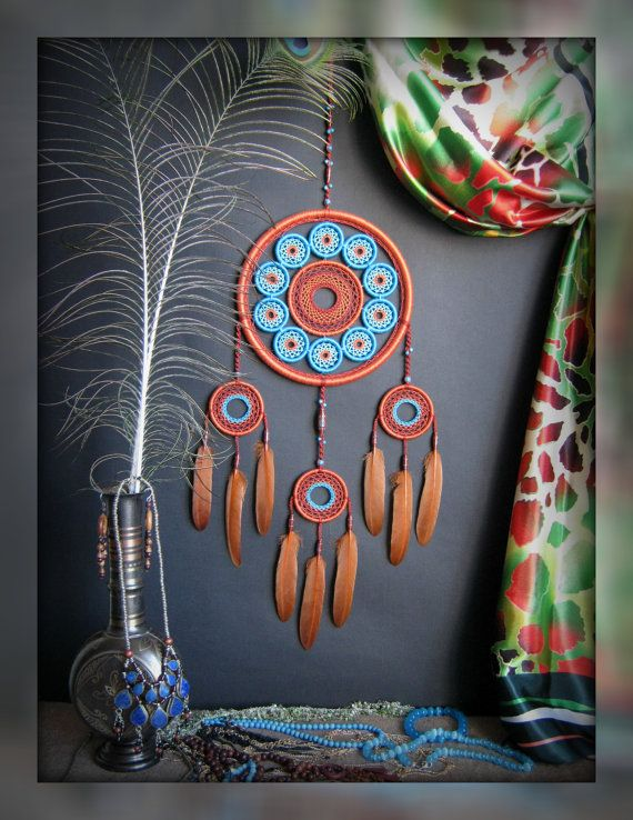 Big Dreamcatcher, many hoop, brown, turquoise, oriental style