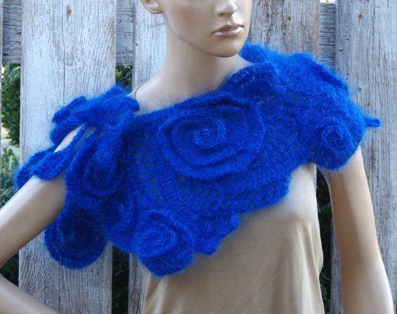 Crochet Scarf Capelet Kobalt Blue Neck Warmer Wedding by Degra2