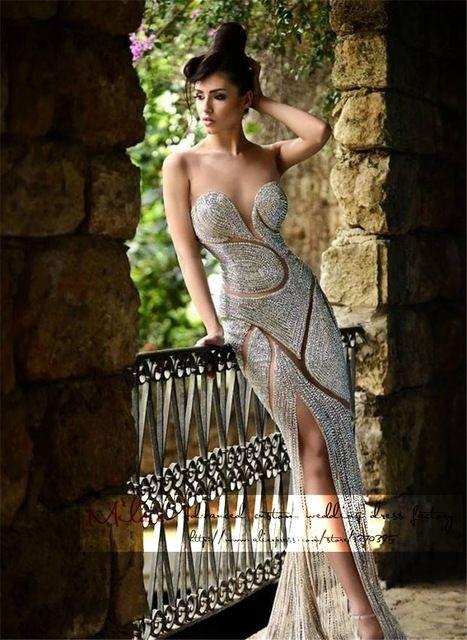 Vestido de formatura longo 2015 nova prata Sexy querida backless da sereia vestido de baile de fenda cristal ver através prom vestidos