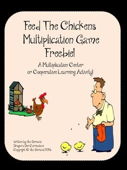 "Free! You don't have to like chickens to love this fun game! This freebie multiplication game for two students is quick and easy to play, making it perfect for classroom multiplication fact review. It's perfect for centers and cooperative learning. All multiplication cards are included with the game. Object of the game is to earn enough ""chicken food"" cards to feed the chickens and win the game! Only the correct answers to the multiplication questions can earn the cards!"