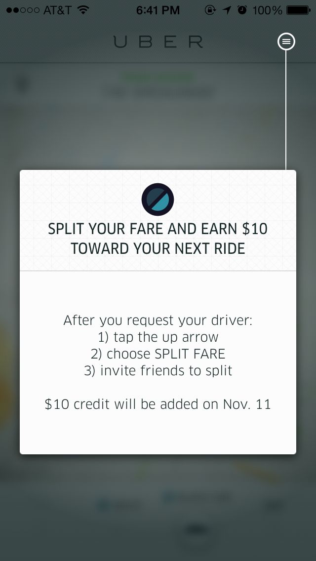 Card for user education (Uber)