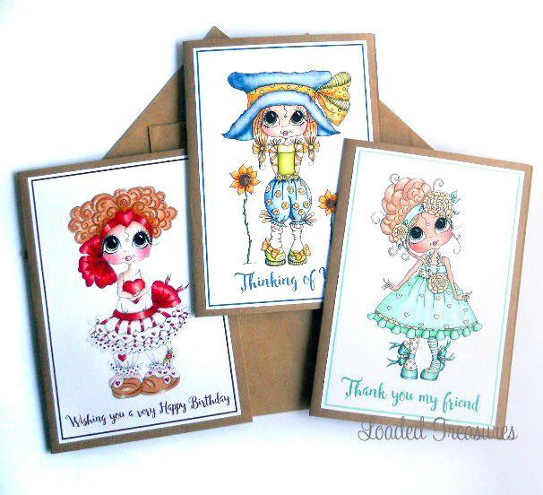 Sherri Baldy Cute Girl Greeting Card Thank you Friendship Birthday Pack of 3
