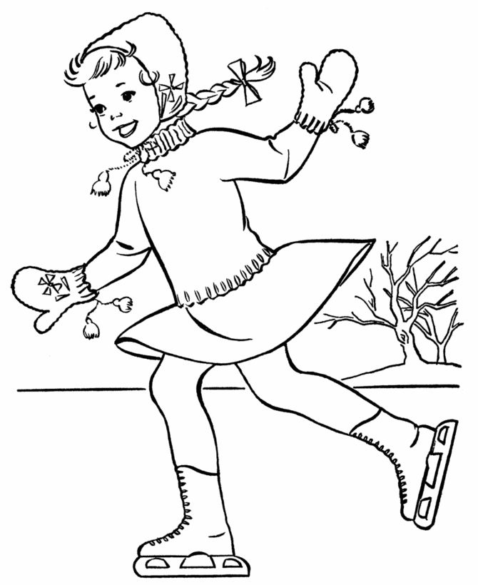 Winter Coloring Printables | Winter Coloring Pages - Winter Pond Skating