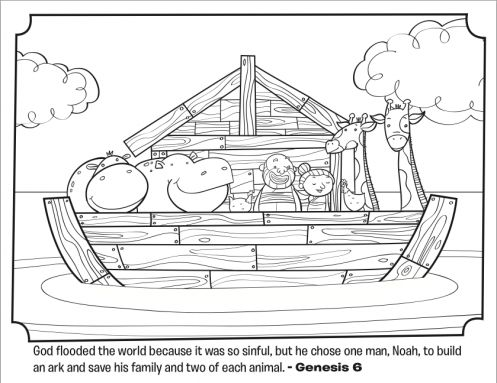 kids coloring page from whats in the bible featuring noahs ark from genesis 6