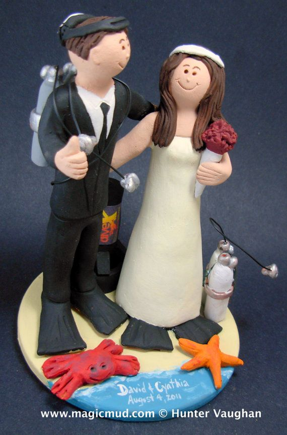 Scuba Wedding Cake Topper    Scuba Diving Wedding Cake Topper, custom created for you! Perfect for the marriage of a Skin Diving Groom and his Bride!    $235   #magicmud   1 800 231 9814   www.magicmud.com