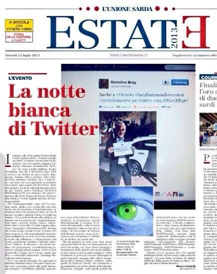 La #NottebiancaTw sull'Unione Sarda by Twitter / margotten78