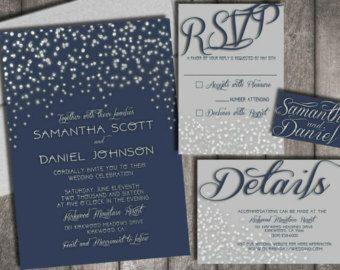 starry night wedding invitations rsvp postcards by chitrap - Wedding Invitation Printing