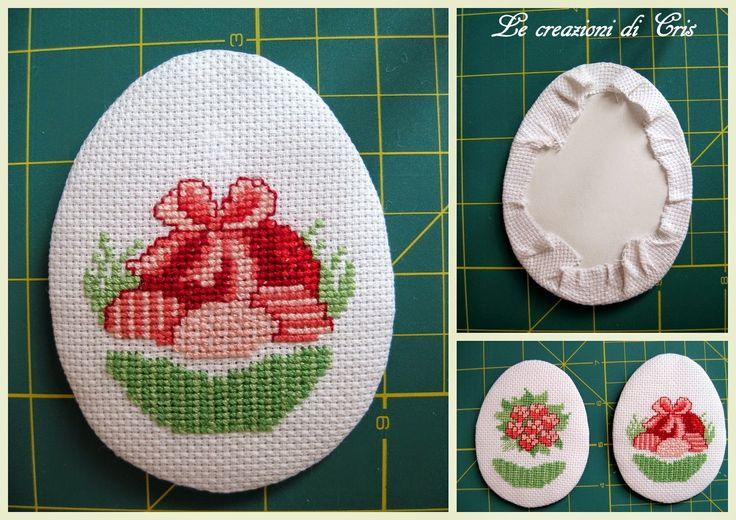 LE CREAZIONI DI CRIS ... di tutto ... un pò: uova ricamate per l'albero di Pasqua ... Easter eggs embroidered ... con minitutorial