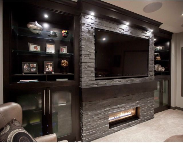For Contemporary Fireplace With Built Ins And TV Nook Fireplaces