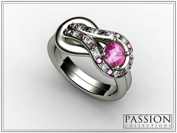 PC332SRD 14K White Gold 1 Pink #Sapphire (0.53CT) 12 Pink #Sapphire (0.17CT) 11 White #Diamond (0.14CT) Total Weight of STONES (0.84CT/TW) #NaturalStones #Ring #Jewelry #mode #fashion #customjewelry #wedding #bride