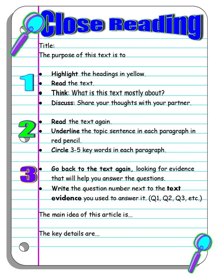 Close reading graphic organizer: scholastic article on how to teach close reading