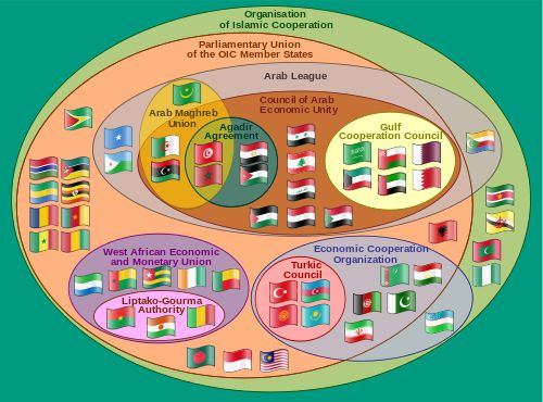 A clickable Euler diagram showing the relationships between various multinational organisations within the Organisation of Islamic Cooperation (note that Syria is currently suspended from all organizations it is included in on this diagram, due to human rights abuses in the ongoing Syrian civil war).
