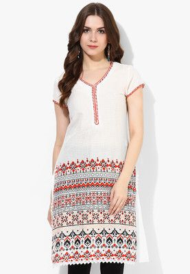 Off White Printed Kurti Look graceful and earn scores of new admirers wearing this off white kurta from the latest collection of Melange. Beautified with a charming print, it has a V-neckline with contrast coloured piping. Tailored in regular fit from cotton, it is also extremely soft against the skin. http://jbo.ng/AzGoBci