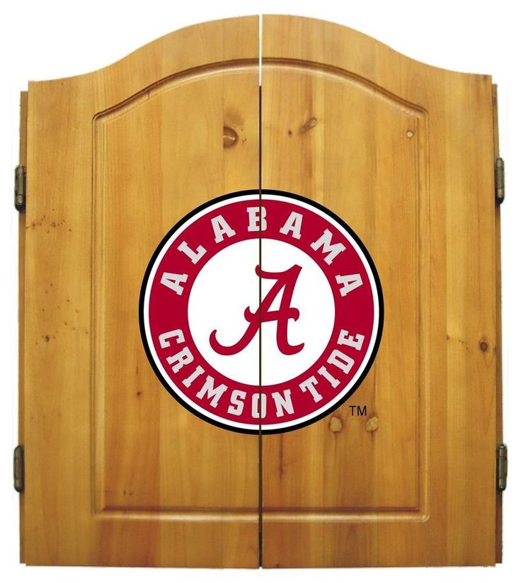 Alabama Crimson Tide Bama Dart Board Cabinet & Bristle Dartboard Set