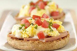 Canadian Bacon & Ranch Benedict - The Ranch Dressing works really well in this recipe to add a nice flavor to the eggs.