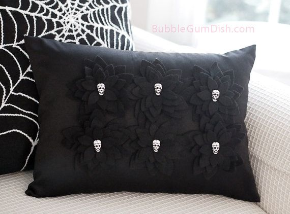 #Halloween #Skulls Decor Black Pillow Cover Felt #Skull by BubbleGumDish.com