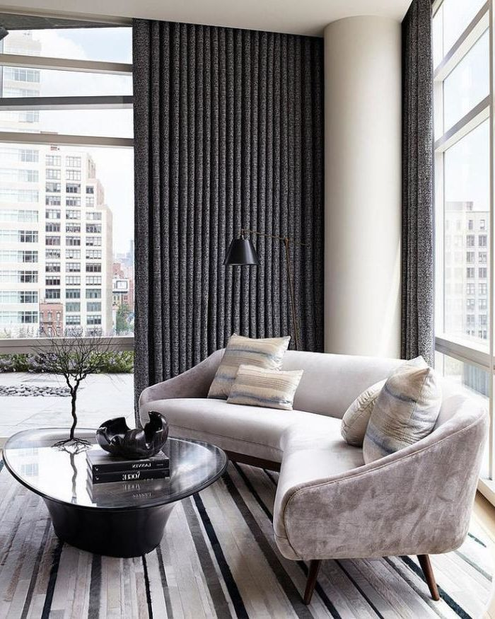 schlites interieur halbrundes sofa grau samt bequemes modell