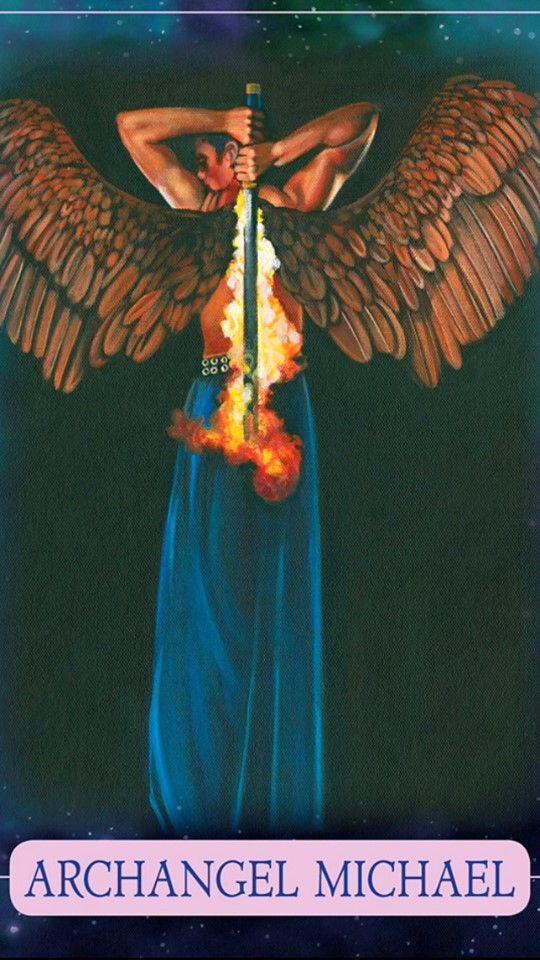 Archangel Michael with flaming sword from the majestic Indigo Angel Oracle Card deck by Doreen Virtue and Charles Virtue