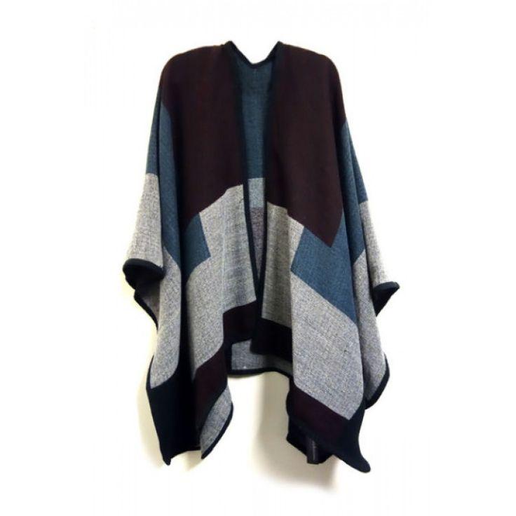 Block Cape. Soft and warm reversible cape.