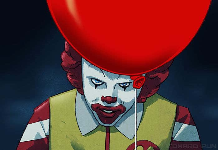 Ronald McDonald as Pennywise by Edward Pun