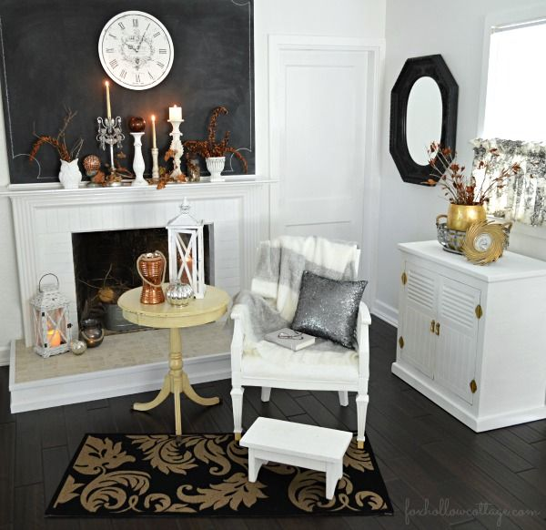 Mixed Metals Home Decorating: Silver, Platinum, Copper and Gold | Chalkboard Fireplace Mantel with Natural Fall Elements. #homegoodshappy