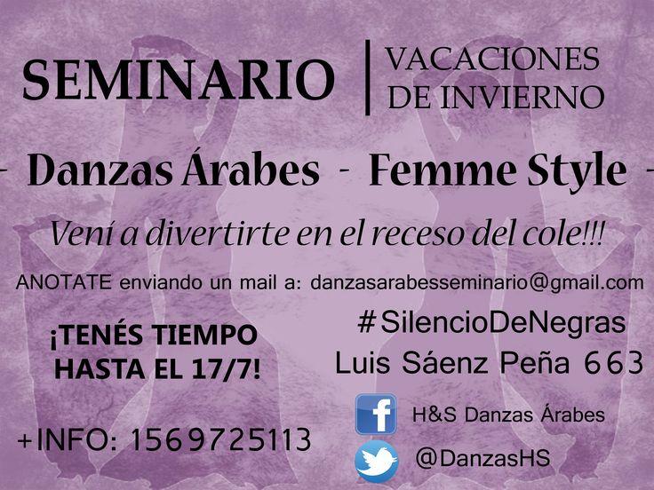 Todas invitadas!!! Seminario: vacaciones de invierno :) Anotate mandando un mail: danzasarabesseminario@gmail.com +INFO: 1569725113  #HSDanzasÁrabes