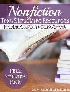 Nonfiction Text Structure Resources - Problem-Solution and Cause-Effect - This Reading Mama