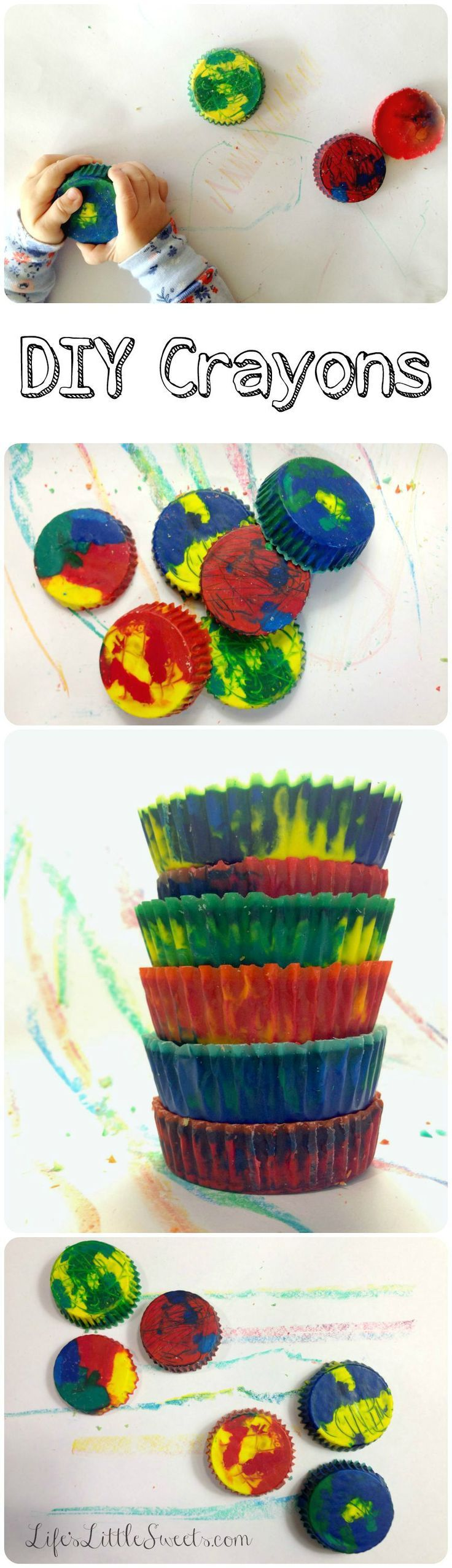 DIY Crayons: Make new colorful crayons by melting your broken crayons! Enjoy this easy, kid-friendly activity!  #DIY #crayons #crayon #kids #art #kidsactivities #upcycle #recycle #reuse #savemoney #save #lifeslittlesweets