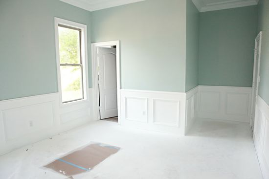 Benjamin Moore Palladian. said to be the most beautiful color as it changes with the angle of the light all day long. It is peaceful, flattering and not pastel. Its a grayed down, robin's egg blue..