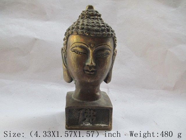 Chinese antique copper seal of Buddha statue of Buddha's light shines