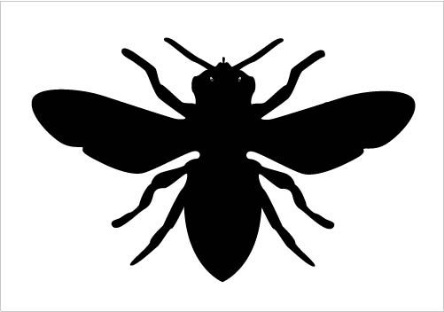 Bee Silhouette Vector Clipart in Black and White Vector Format Silhouette Graphics
