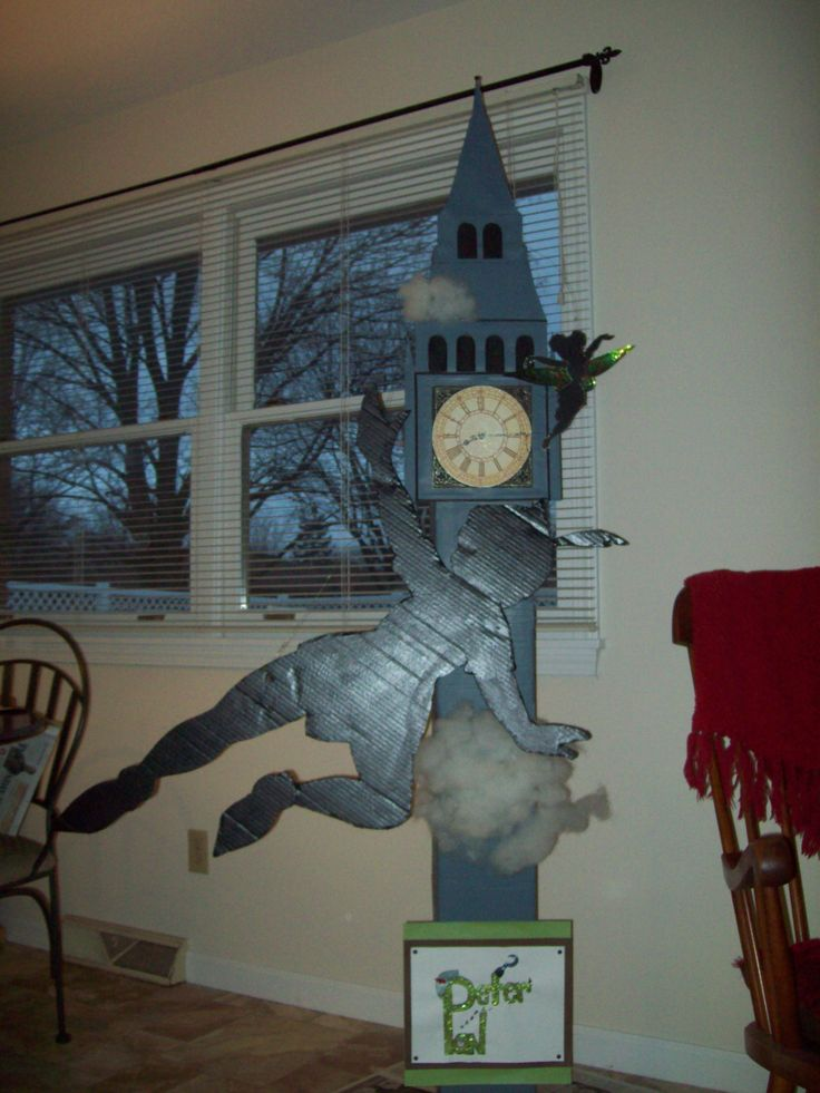 Peter Pan Clock Tower made out of cardboard.