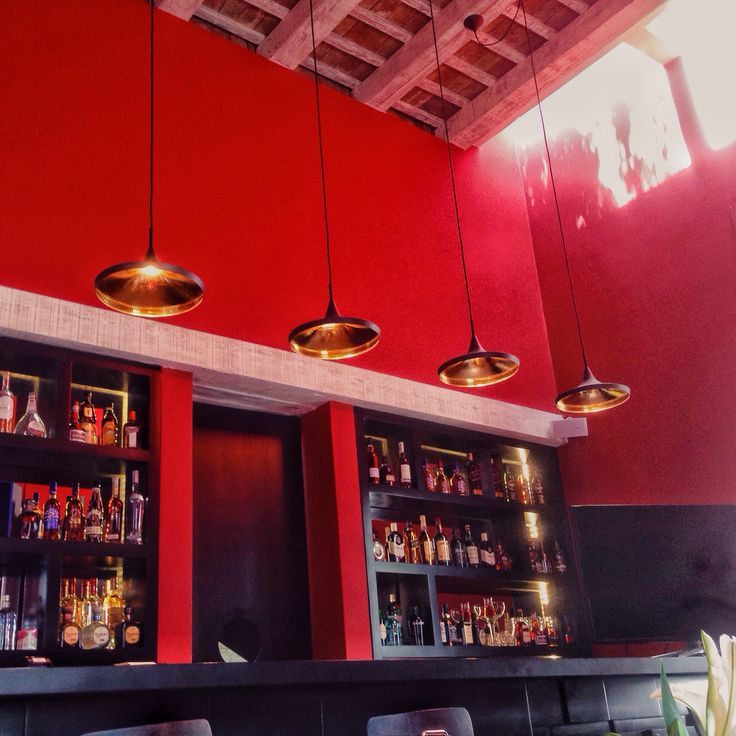 Hotel Billini Zona Colonial  Dominican Republic Bar  Decoration  Light  Lamp  Counter  Red