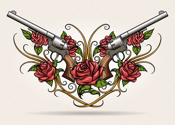 Two Guns and Rose Flowers Drawn in Tattoo Style - Tattoos Vectors
