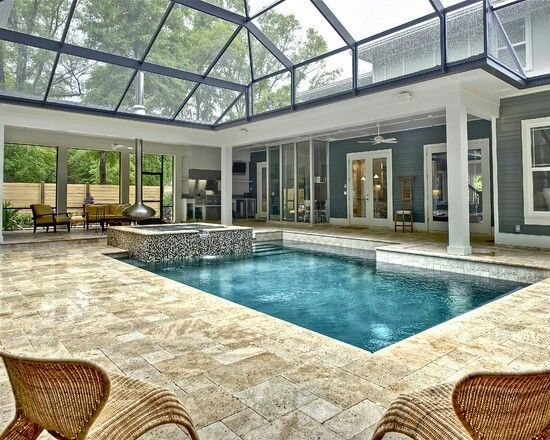 Enclosed Pool With Outdoor Kitchen Just Need To Add E For Jungle Gym Swimmingpool Indoorpool Smallpools Indoorswimmingpool
