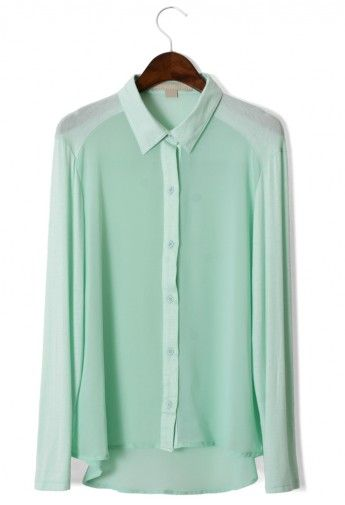 Mint Green Blouse, use different shades of the colour on collar, cuffs and buttons