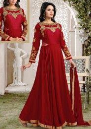 Party Wear Georgette Maroon Kasab Work Anarkali Suit