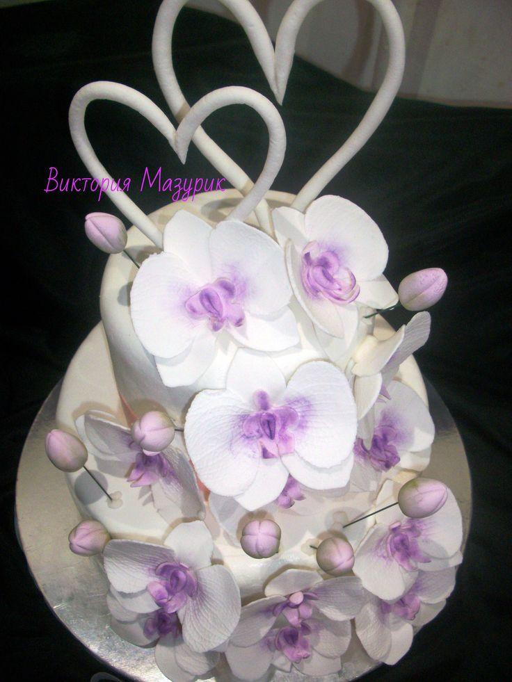 Свадебный с орхидеями #торт_на_заказ_кировоград #ярусные