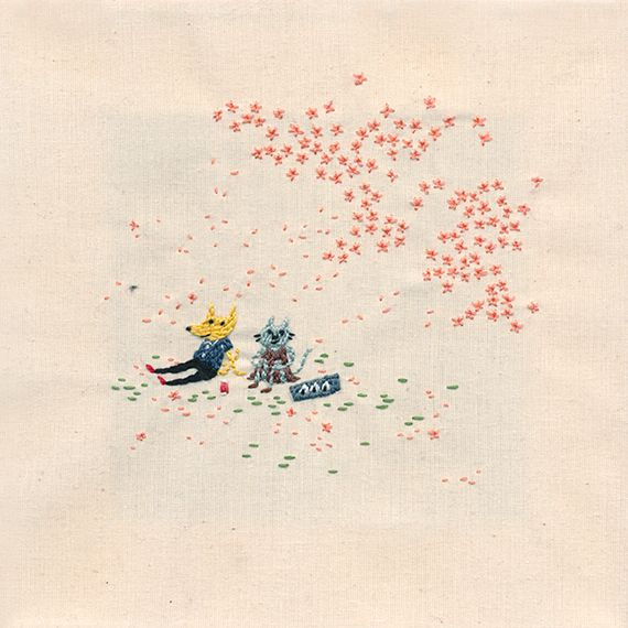 Embroidered piece of a couple enjoying the cherry blossoms, 2014 by Annie Seo