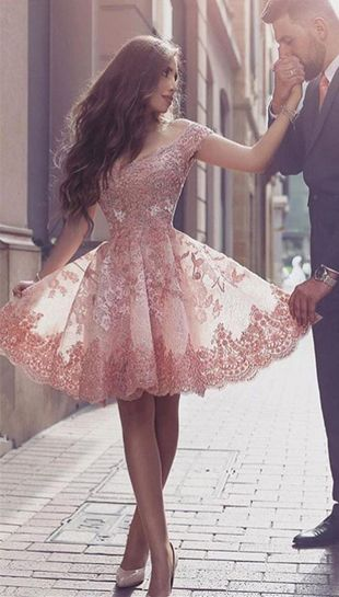 Gorgeous Short Sleeve Prom Dress,Short Dress,Lace 2017 Homecoming Dress Short Tulle Prom Dress,A-line Prom Dress,Mini Dresses,Homecoming Dress