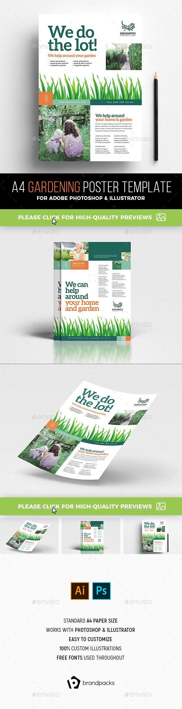 A4 Gardening Poster / Advertisement Template PSD, AI
