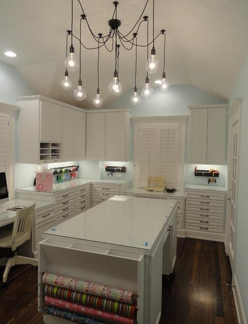 1. Love the HUGE island for crafting 2. Love the desk where you can sit down 3. I love the closed cabinets (less clutter)