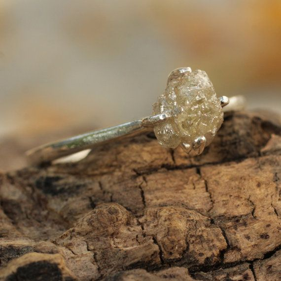 Rough diamond engagement ring with sterling by MetalStudioJewelry