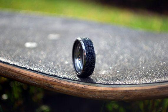 Steel Skateboard Ring Made from skateboard grip tape by everskate