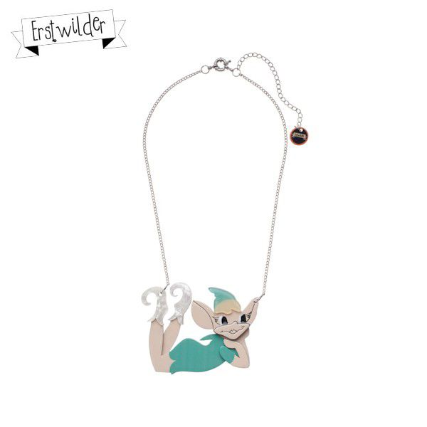 """Pix the Playful Pixie resin necklace in mint - """"What games shall we play with my little imaginary friend today?"""""""